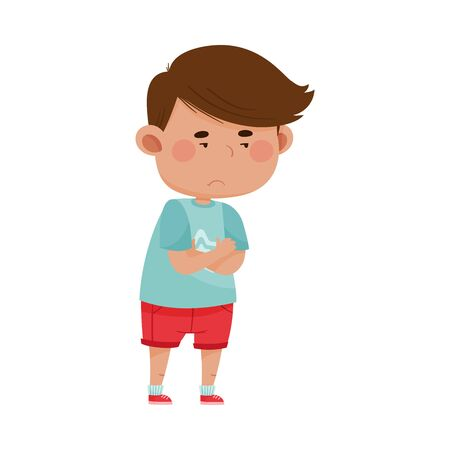 Dark Haired Boy Wearing Red Shorts Folding His Arms on the Chest Showing Dissatisfied Expression on His Face Vector Illustration. Kid Character Standing with Grumpy Feeling
