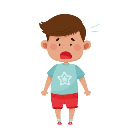 Dark Haired Boy Wearing Red Shorts Freezing Showing Scared Expression on His Face Vector Illustration