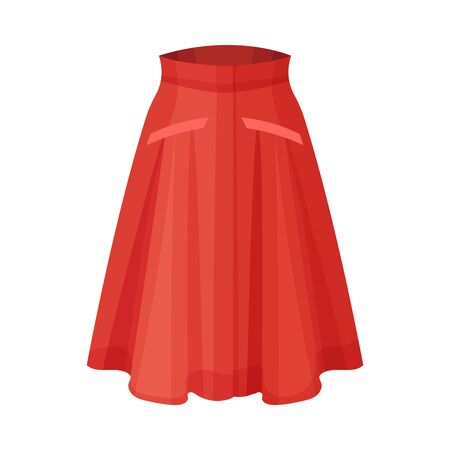 Midi Red Flared Skirt with Pleats Isolated on White Background Front View Vector Illustration
