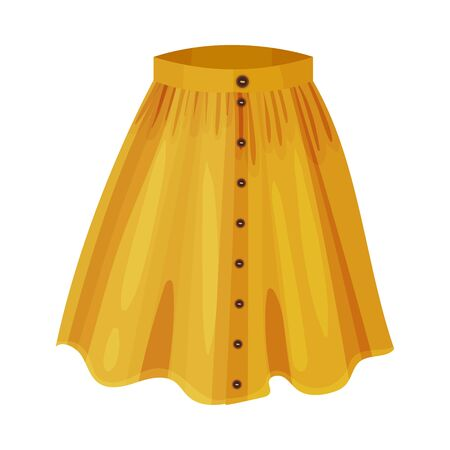 Midi Yellow Flared Skirt with Pleats Isolated on White Background Front View Vector Illustration. Textile Womenswear and Fashionable Feminine Garment Vektorgrafik
