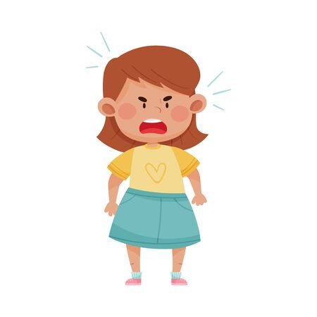 Short Haired Girl in Blue Skirt Screaming with Anger and Showing Fierce Expression on Her Face Vector Illustration