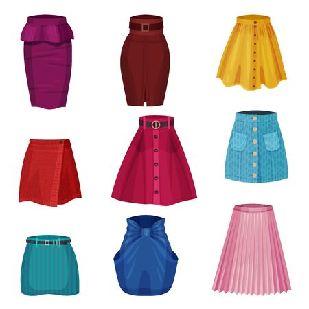 Different Skirt Models with Flared Skirt and Tube Skirt Vector Set. Textile Womenswear and Fashionable Feminine Garment