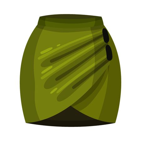Tight Fit Green Skirt with Pleats Front View Vector Illustration. Textile Womenswear and Fashionable Feminine Garment