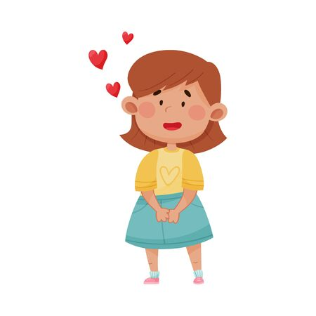 Short Haired Girl in Blue Skirt Falling in Love Vector Illustration. Kid Character Smiling Feeling Excitement