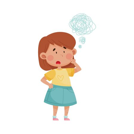 Short Haired Girl in Blue Skirt Wearing Red Shorts Showing Expression of Frustration on Her Face Vector Illustration