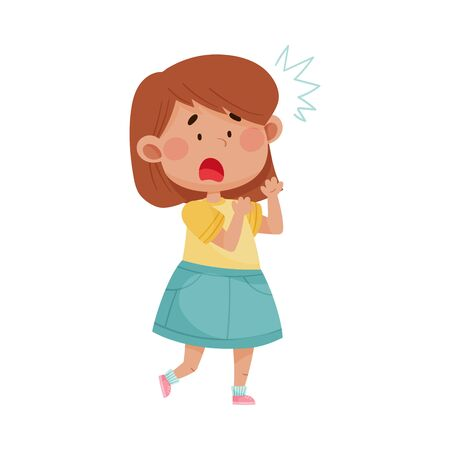 Short Haired Girl in Blue Skirt Freezing Showing Scared Expression on Her Face Vector Illustration. Kid Character Standing with Fear Feeling Ilustrace