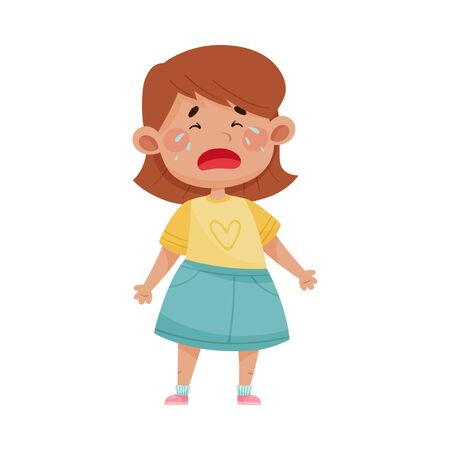 Short Haired Girl in Blue Skirt Standing and Crying Vector Illustration. Kid Character with Feeling of Sorrow 일러스트