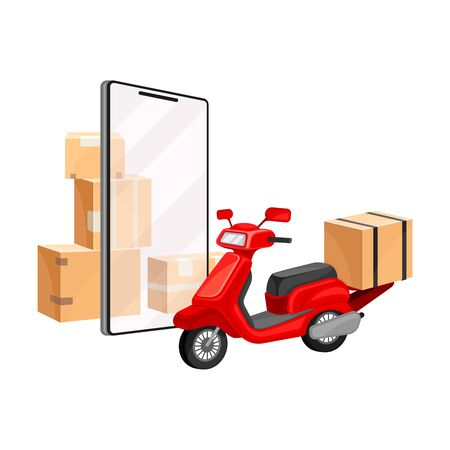 Cardboard Boxes and Scooter with Smartphone Screen as Navigation Attribute Vector Illustration. Order Delivery and Commercial Fast Shipping Concept Vektoros illusztráció