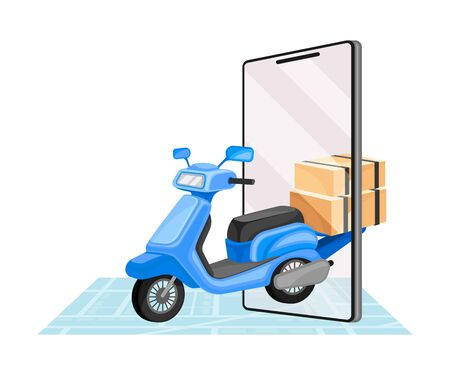 Cardboard Boxes and Scooter with Map as Navigation Attribute Vector Illustration. Order Delivery and Commercial Fast Shipping Concept