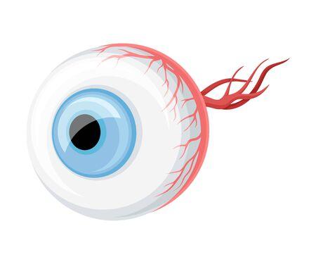 Donor Eye Organ with Optic Nerve for Transplantation Vector Illustration
