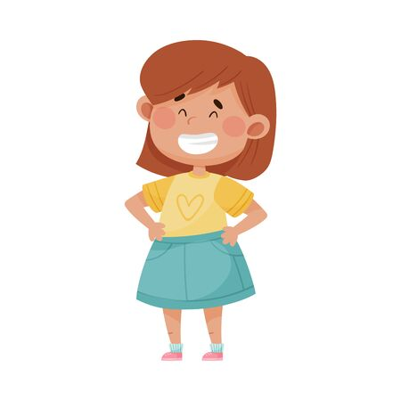 Little Girl Wearing Blue Skirt Smiling Showing Happy Expression on Her Face Vector Illustration. Kid Character Standing with Cheerful Feeling