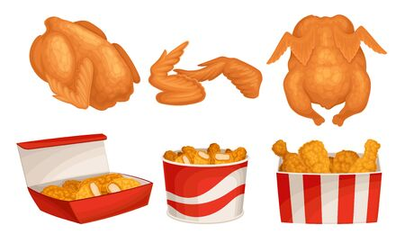 Fried Chicken Meat with Wings and Legs Poured in Baskets Vector Set. Crunchy Roasted Meat as Fast Food Restaurant Menu