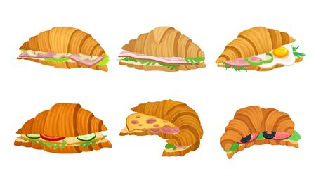 French Crunchy Croissants with Different Stuffing Like Sliced Bacon and Cheese Vector Set. Traditional Morning Meal with Baked Crispy Crescent  イラスト・ベクター素材