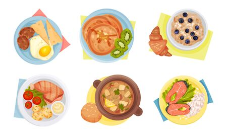 Meal Served on Plate with Napkin Rested Underneath it Top View Vector Set. Lunch or Dinner Plating Art