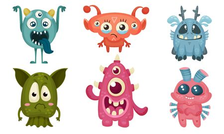 Big Eyed Monsters with Horns Expressing Emotions Vector Set. Comic Aliens with Friendly Muzzles Illustration