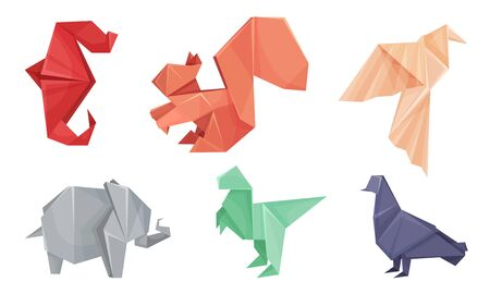 Origami Animals Vector Set. Colorful Art of Paper Folding