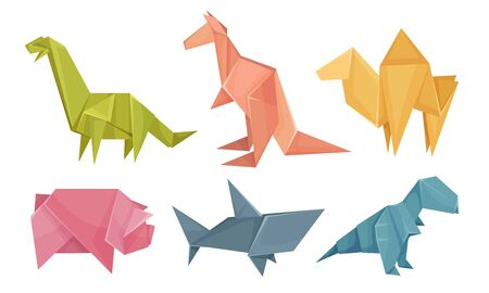 Origami Animals Vector Set. Colorful Art of Paper Folding. Creative Hobby Concept 向量圖像
