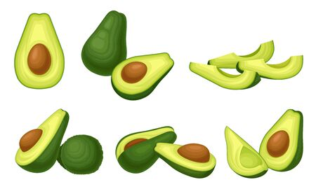 Bright Green Avocado Berry Whole and Halved with Large Seed Vector Set. Ripe and Raw Vegetarian Snack with Soft Flesh Иллюстрация