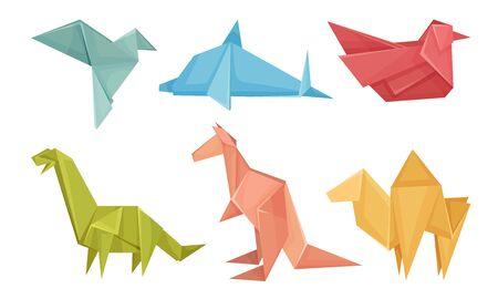 Origami Animals Vector Set. Colorful Art of Paper Folding. Creative Hobby Concept Иллюстрация