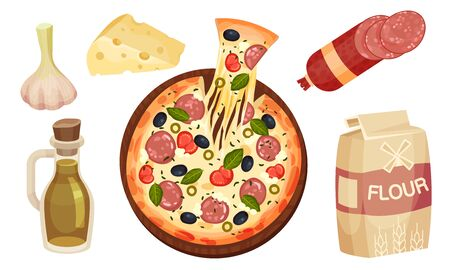 Pizza Ingredients with Prepared Open Pie Rested on Wooden Plate Vector Set Illustration