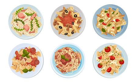 Different Pasta Served on Plate Top View Vector Set. Traditional Italian Dish Concept