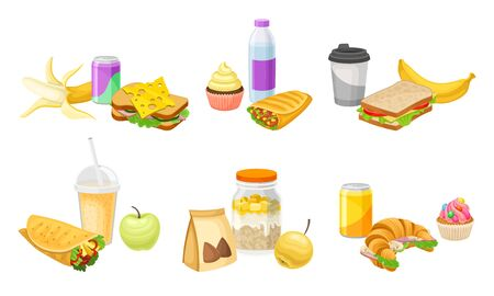Fast Food Snacks and Drinks Isolated on White Background Vector Set Illustration