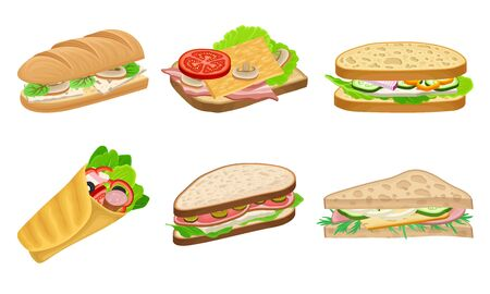 Subs and Sandwiches of Black and Wheaten Bread with Various Ingredients Vector Set Ilustração Vetorial