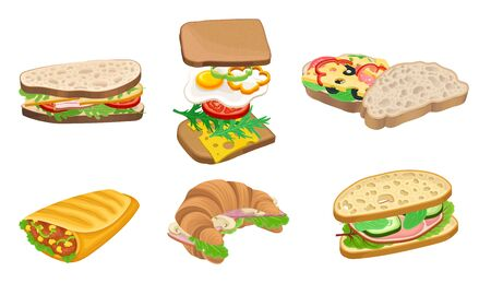 Subs and Sandwiches of Black and Wheaten Bread with Various Ingredients Vector Set