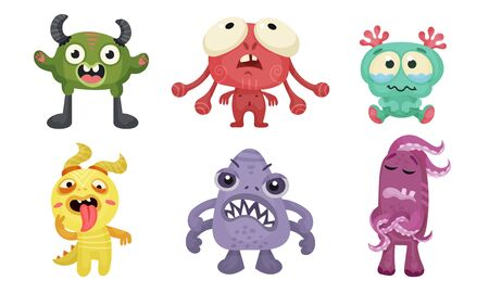 Big Eyed Monsters with Horns Expressing Emotions Vector Set