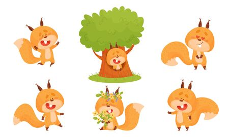 Cute Squirrel Character Doing Different Activities Vector Set