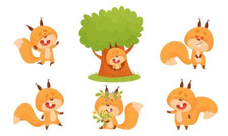Cute Squirrel Character Doing Different Activities Vector Set