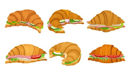 French Crunchy Croissants with Different Stuffing Like Sliced Bacon and Vegetables Vector Set. Traditional Morning Meal with Baked Crispy Crescent
