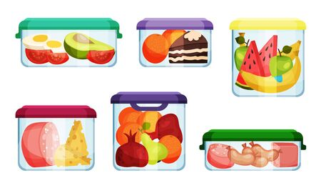 Different Food in Plastic or Glass Containers Vector Set Illustration