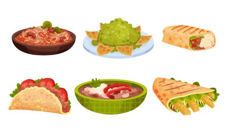 Mexican Snacks and Dishes Vector Set. Appetizing Traditional Courses and Starters Collection