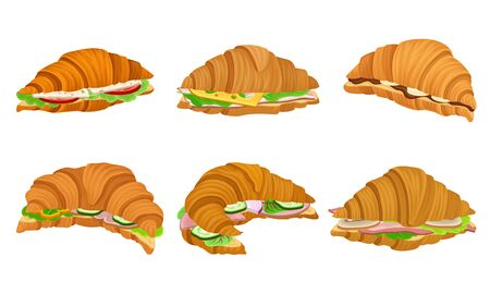 French Crunchy Croissants with Different Stuffing Like Sliced Bacon and Cheese Vector Set