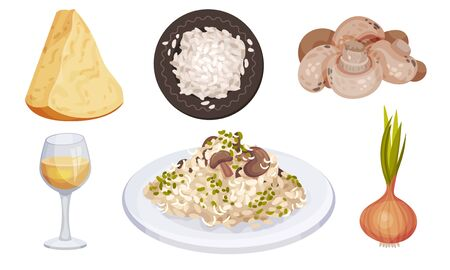 Mushroom Risotto Served on Plate with Ingredients Around Vector Set
