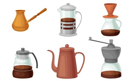 Teapots and Kettles Isolated on White Background Vector Set
