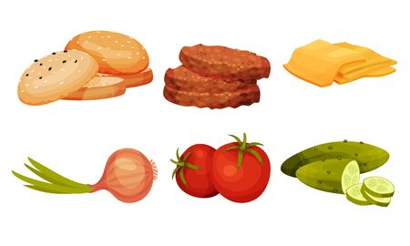 Fresh Vegetables and Patty Cake for Hamburger Preparation Vector Set. Separate Foodstuff for Fast Food Cooking Ilustracja