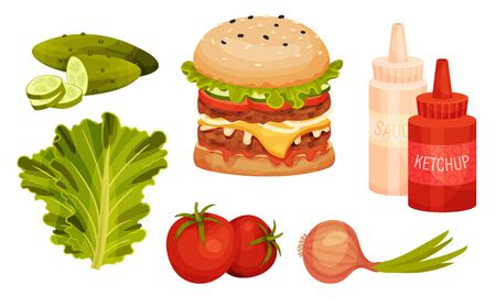 Fresh Hamburger with Scattered Around Ingredients Vector Set. Separate Foodstuff for Fast Food Restaurant