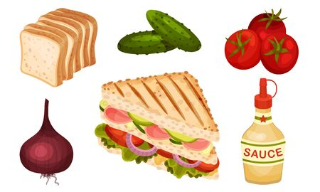 Ingredients for Sandwich Preparation with Vegetables and Toasted Bread Slices Vector Set. Triangle Shaped Snack with Stuffing