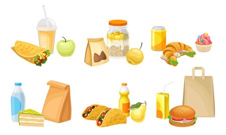 Fast Food Snacks and Drinks Isolated on White Background Vector Set  イラスト・ベクター素材