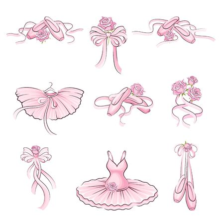 Ballet Accessories with Tutu Skirt and Pair of Pointe-shoes Vector Set Ilustracje wektorowe