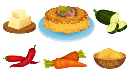 Baked Vegetable Pie with Mushrooms and Ingredients Around Vector Set  イラスト・ベクター素材