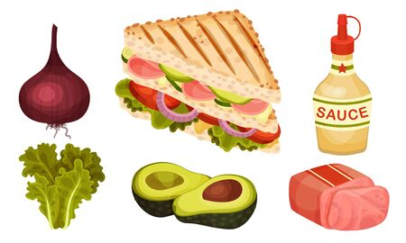 Ingredients for Sandwich Preparation with Sliced Bacon and Toasted Bread Slices Vector Set  イラスト・ベクター素材