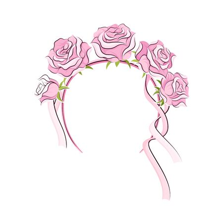 Pink Headband with Rose Flowers and Long Satin Ribbons as Ballet Accessory Vector Illustration