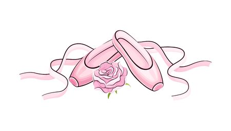 Pink Pointe Shoes with Satin or Silk Ribbon Vector Illustration