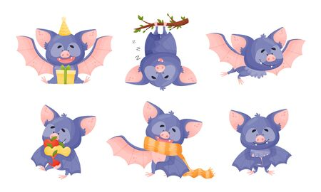 Funny Purple Bat Character in Different Poses Vector Set
