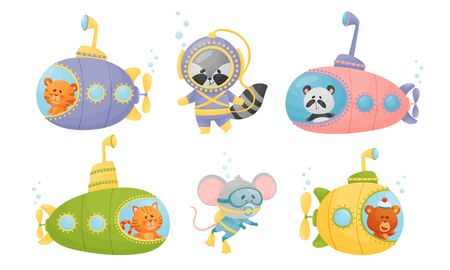 Smiling Animals Swimming Under Water on Submarine and with Diving Suits Vector Set