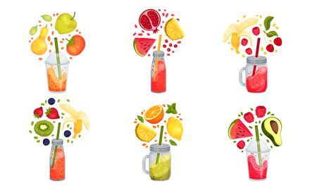 Smoothies in Jars and Glasses with Straw and Floating Around Ingredients Vector Set