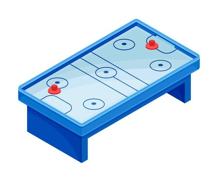 Air Hockey Low-friction Table as Tabletop Game Vector Illustration